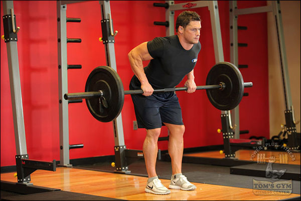 Top position of the Bent-Over Barbell Row - image courtesy of bodybuilding.com