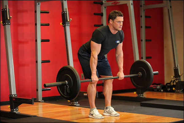 Starting position of the Bent-Over Barbell Row - image courtesy of bodybuilding.com