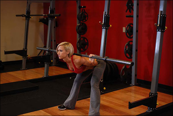 Bottom Position for the Good Morning Barbell Exercise - bodybuilding.com image