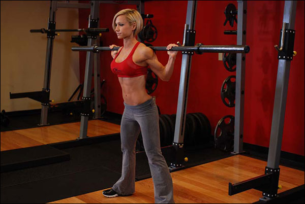 Starting Position for the Good Morning Barbell Exercise - bodybuilding.com image