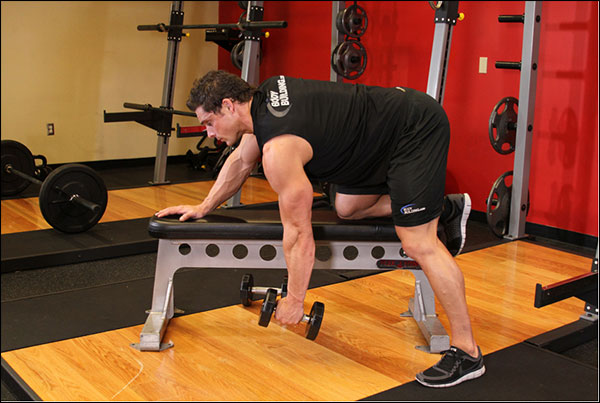 Starting position of the One-Arm Dumbbell Row - image courtesy of bodybuilding.com