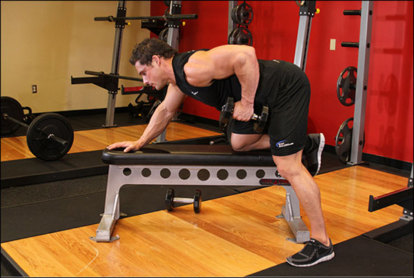 End position of the One-Arm Dumbbell Row - image courtesy of bodybuilding.com