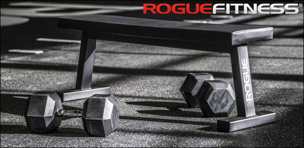 Rogue Fitness - Flat Utility Bench 2.0 & Rubber Hex Dumbbells.