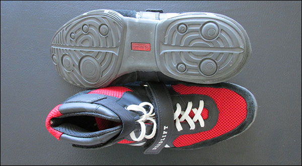 Aerial view of the SABO Deadlift Shoes; sole and top of shoe