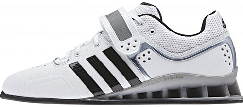 Side view of Adidas AdiPowers WL Shoes reveals the raised heel and flatness of sole