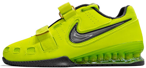 f1456161b2864d Side view of Nike Romaleos WL Shoes (Volts) reveals the raised heel and  flatness