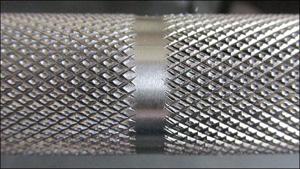 Close-up of the aggressive Ohio Deadlift Bar knurling