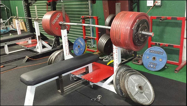 The Vulcan Elite Power Bar loaded up - practically no flex at well over 1000-pounds