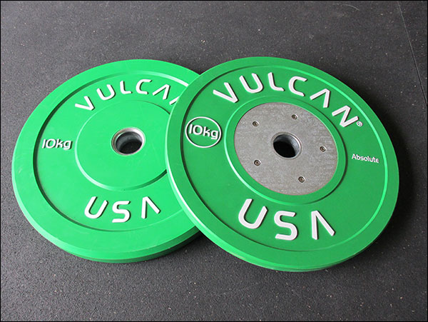 Vulcan KG Trainers on left with normal steel insert, and large hub Competition Bumpers on the right.