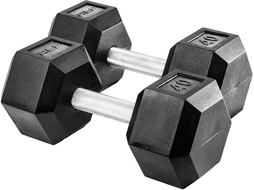 Rep Fitness Rubber Hex Dumbbells with Straight, Knurled handles