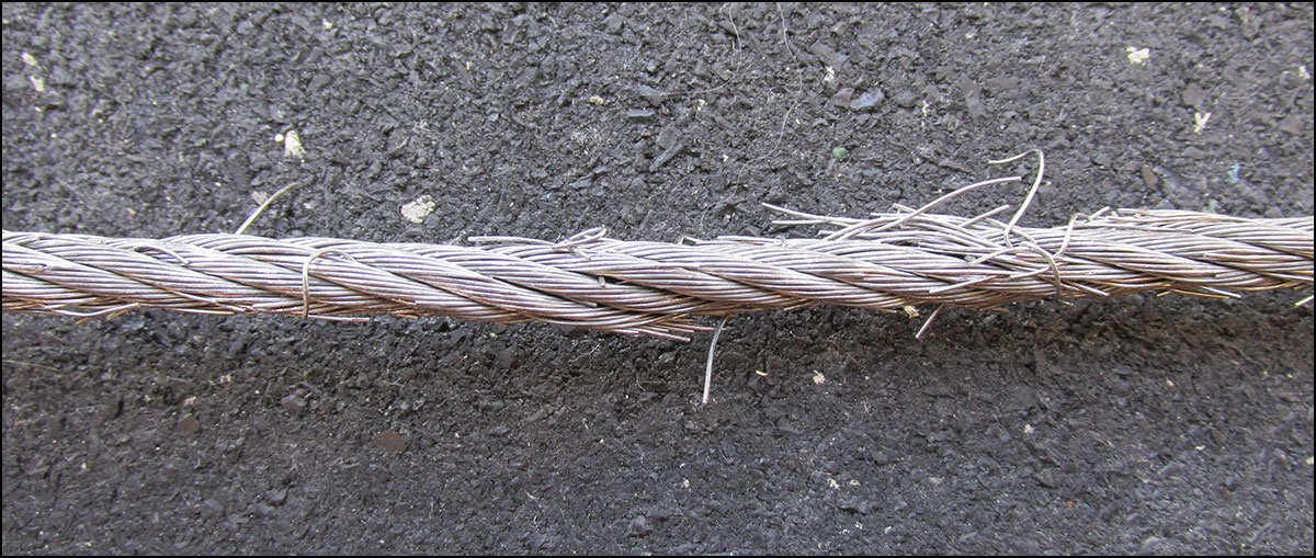 An example of extreme fraying to Spud Inc's galvanized steel pulley cable