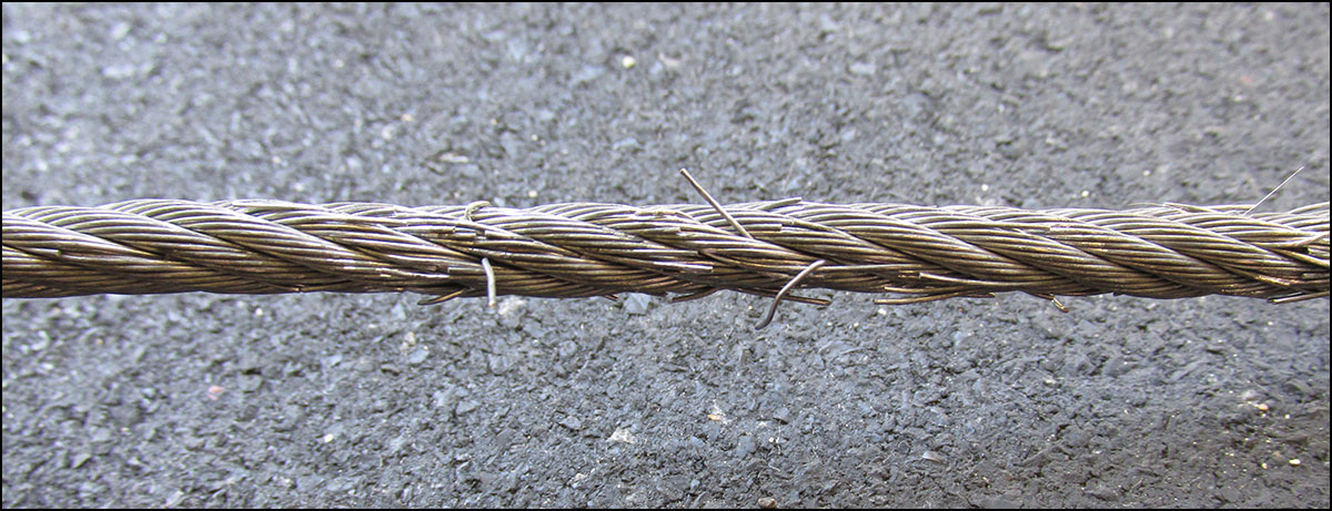 Spud Inc galvanized steel cable - moderate fraying