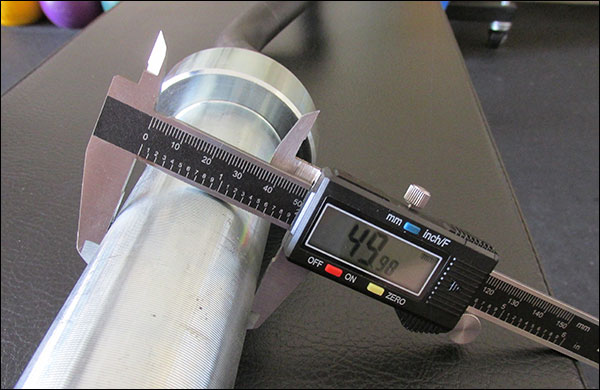 """Prices measurement of the Rogue Curl Bar's """"50 mm"""" sleeves - close enough for government work"""