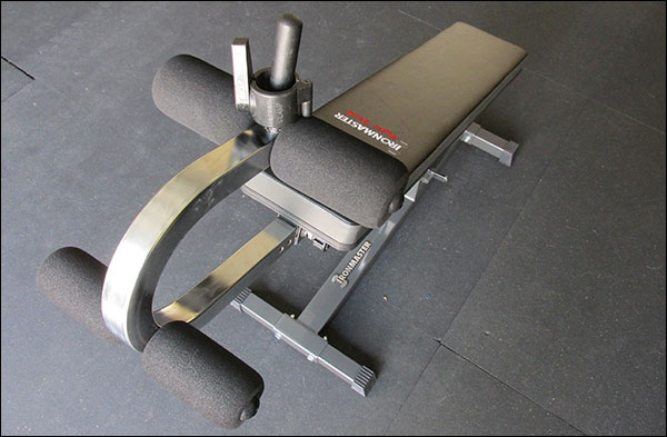 IronMaster Super Bench - crunch attachment has tiny little foam rollers without protective vinyl