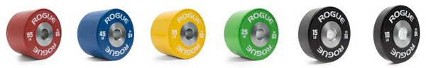 Rogue Dumbbell Handles available in 10-55 pounds in IWF color scheme