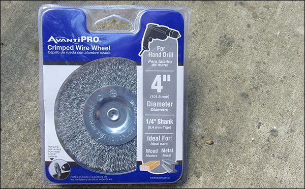 """4"""" Wire Wheel with 1/4"""" shank - about $5 from hardware stores or Amazon."""