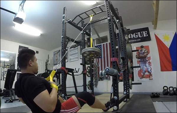 Garage gym Lat Pulldowns with the Spud Inc Pulley