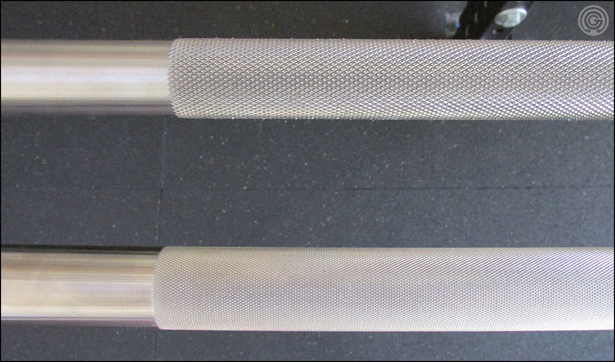 American Barbell Elite (bottom) versus Ohio Power Bar - knurl depth/aggressiveness