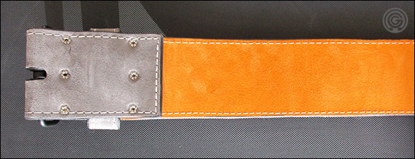 The inner suede is orange to match the Garage Gyms logo on the back of the belt
