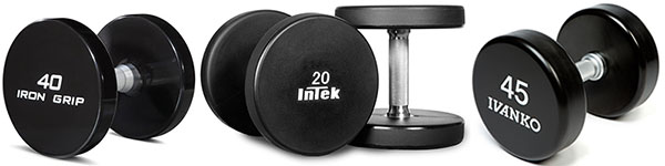 Examples of commercial dumbbells from the likes of Iron Grip, Ivanko, and Intek - love them I's