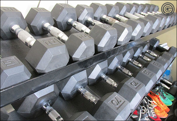The Garage Gyms hodgepodge of hex dumbbells from Rogue, CAP, York, Rep, and Vulcan.
