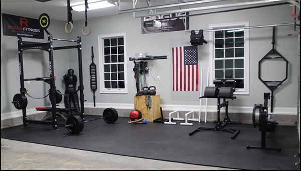 Fully loaded garage gym - big money spent here.