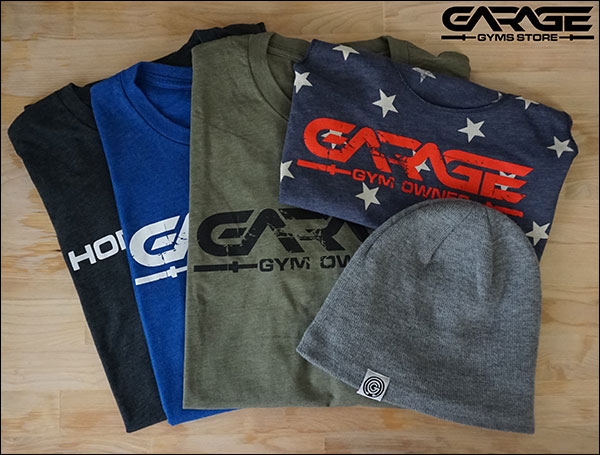 Shop the Garage Gyms Store for garage gym themed t-shirts, tank tops, hats, stickers, flags, and more. I appreciate your support!