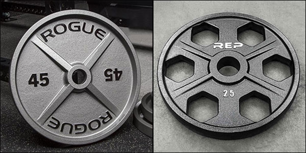 Machined Rogue Plates and Rep Fitness Equalizer Plates