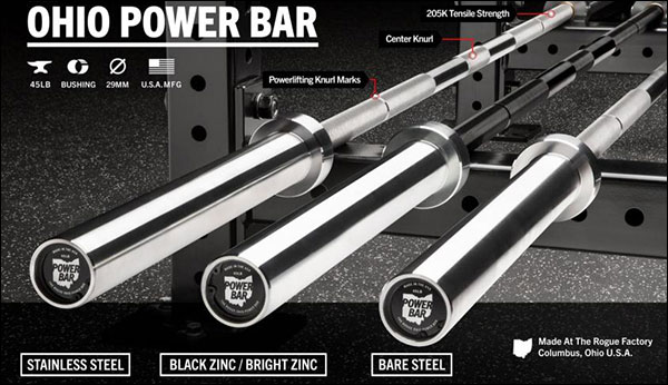 The Rogue Ohio Power Bar, 45-lb variant