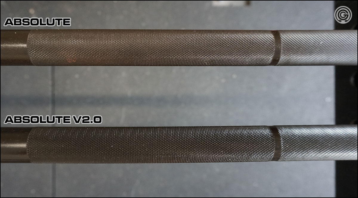 Changes to knurling from version 1 to version 2 of the Absolute Power Bar