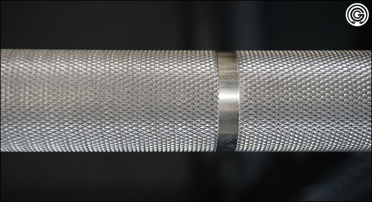 Close up of the aggressive knurling of the Vulcan SS Absolute Power Bar