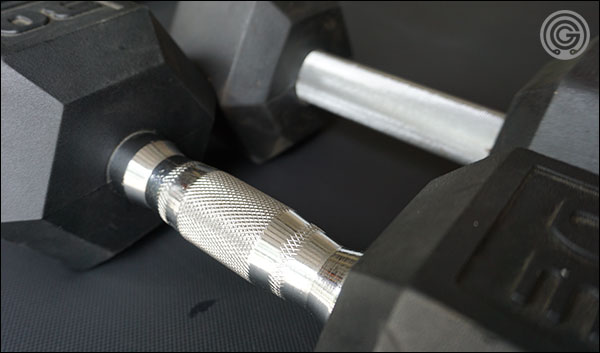 Basic ergonomic handled dumbbells versus the fixed-diameter Rep Fitness dumbbells