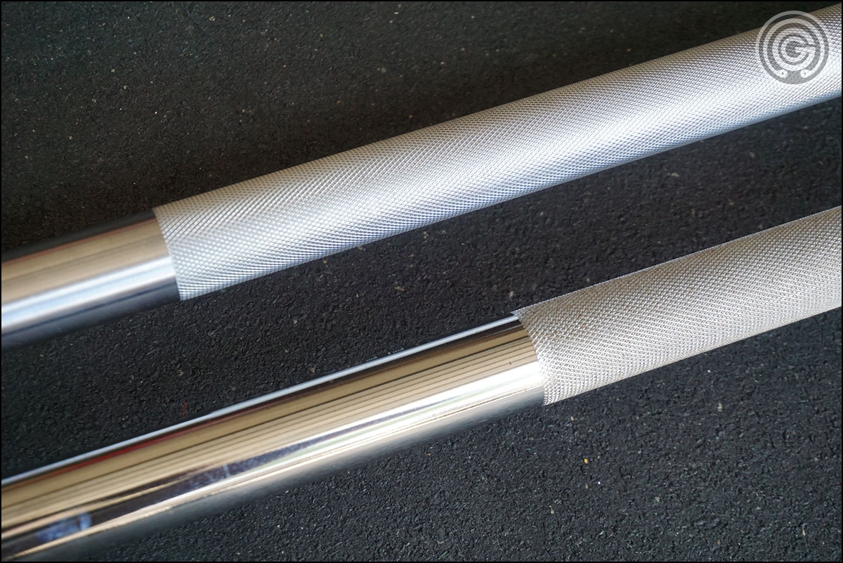 Iron Company 5150 (top) knurl versus the more aggressive Eleiko XF