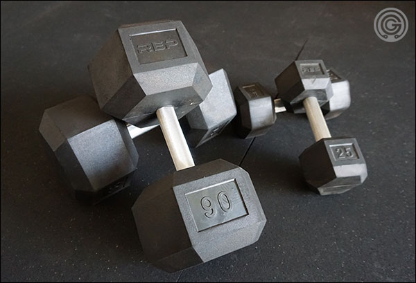 Rep Fitness Rubber-Coated Hex Dumbbells with fixed-diameter, knurled handles