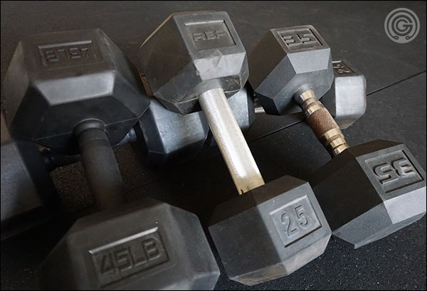 Various styles of the rubber hex dumbbells