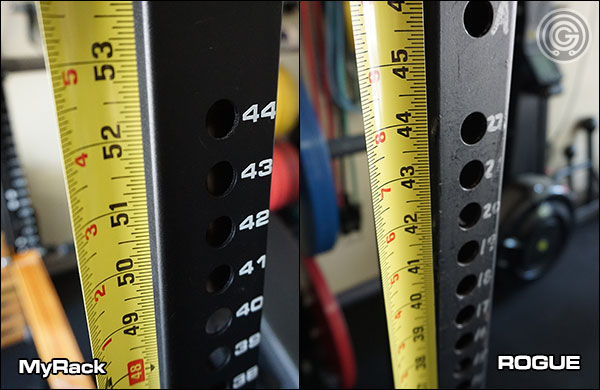 MyRack Westside Hole Spacing versus that of Rogue Infinity racks