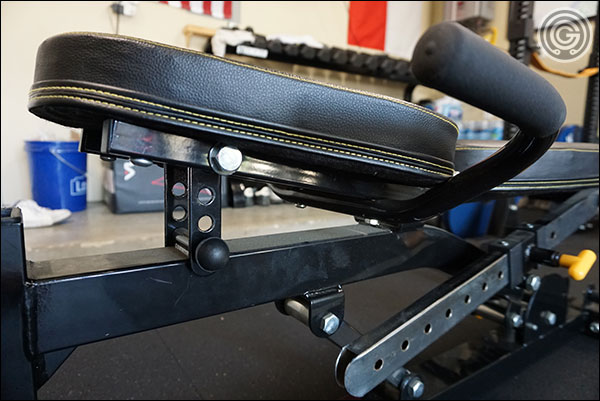 Low angle created by the maximum seat position of the Powertec Bench