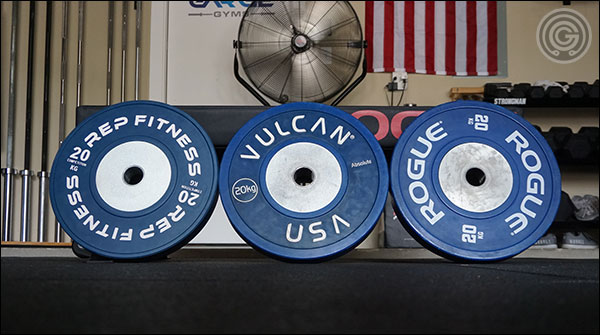 Competition Bumper Plate Comparison - Rogue, Rep, and Vulcan