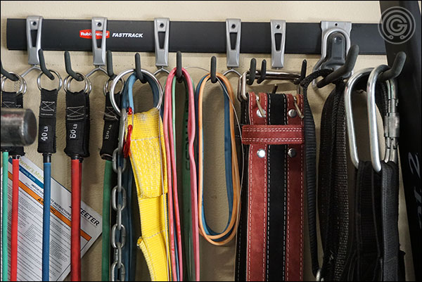 Rubbermain FastTrack System works well for long, vertical items like belts, bands, and chains