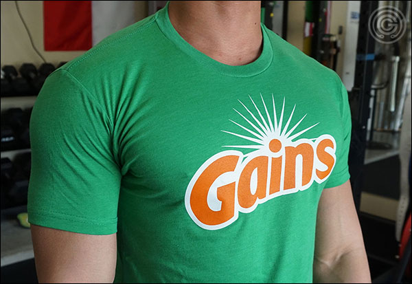 Show of those fresh gains with the Garage Gym GAINS tshirt