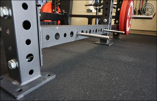 """The horizontal crossmember and side of the uprights alternate between 1"""" and 5/8"""" holes"""