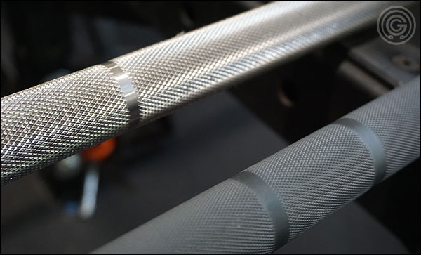 Rogue Ohio Power Bar knurling is clearly more aggressive than the Matt Chan Bar knurling