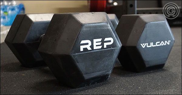 Rubber-coated handled dumbbells - Rep Fitness versus Vulcan Strength