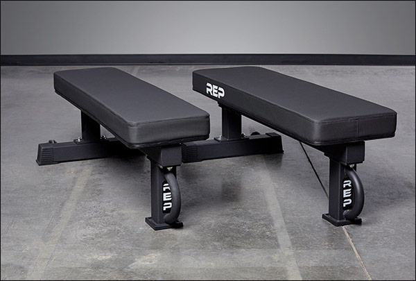 "Rep FB-5000 Competition bench with the either the standard 12"" pad or optional 14"" Wide Pad"