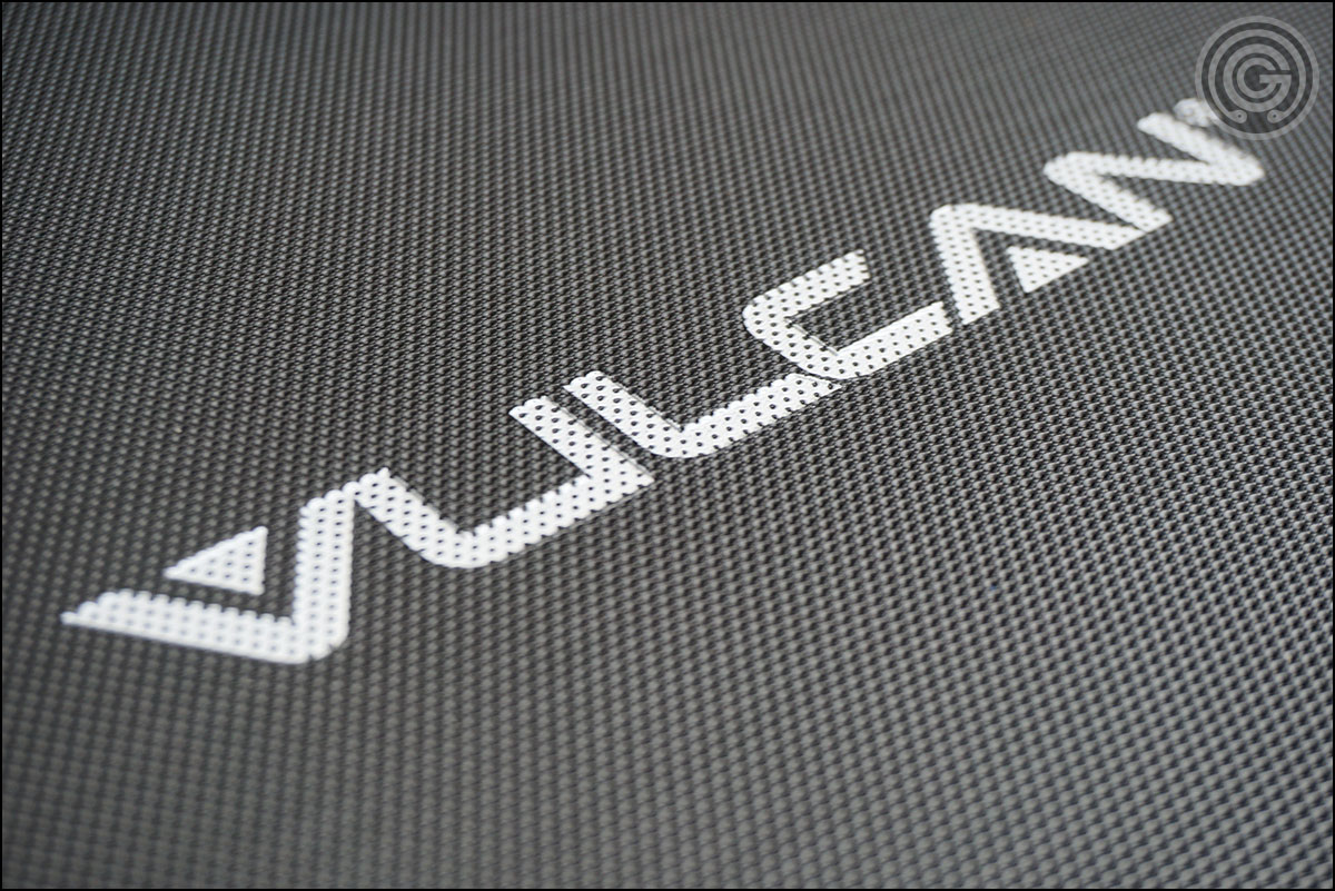 Textured, grippy vinyl cover of the Vulcan Prime 3x3 Flat Bench