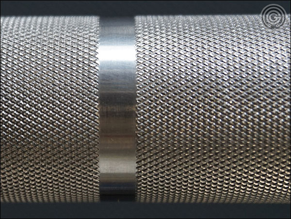American Barbell Elite Power Bar knurling close-up