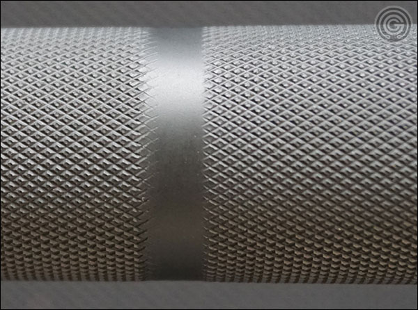 Rogue SS Cerakote Matt Chan Bar knurling close-up