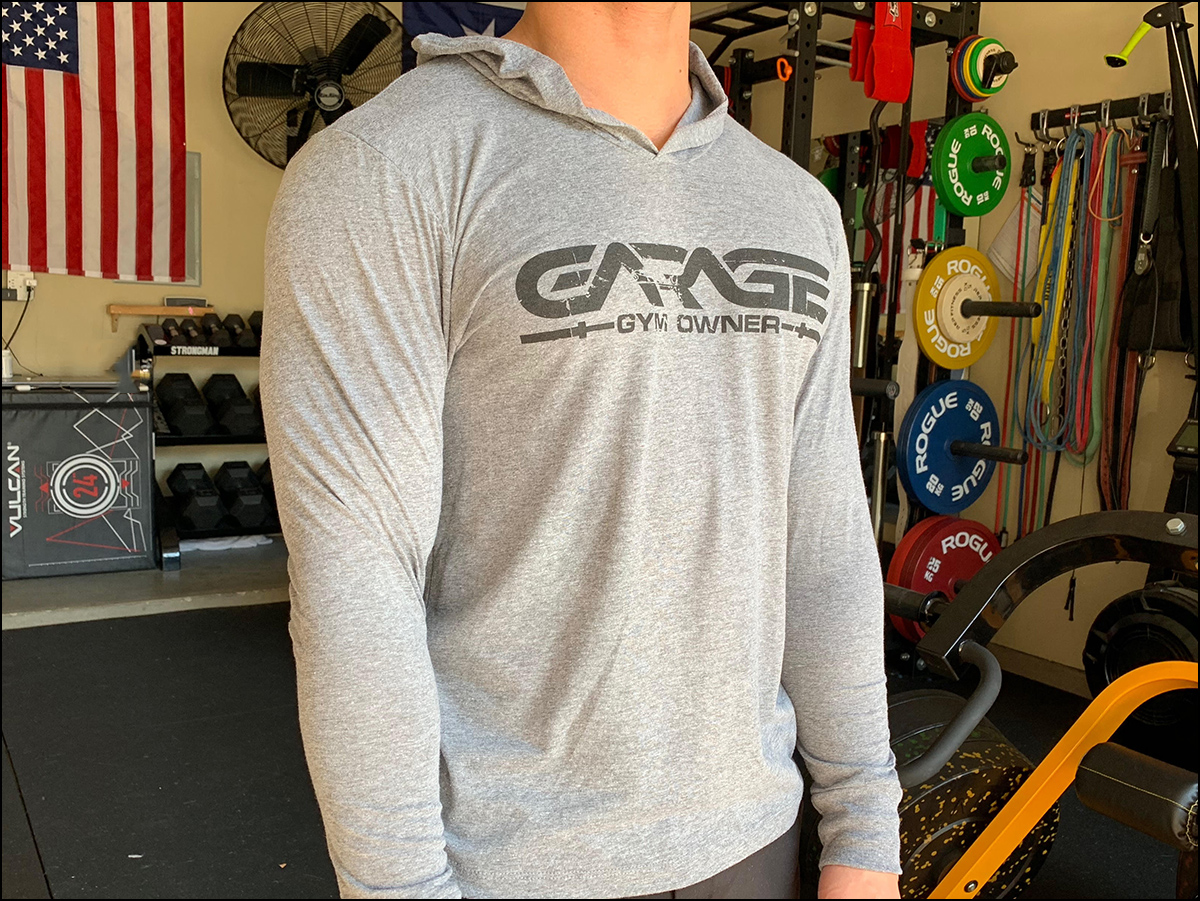 The new Garage Gym Owner tri-blend hoodie. Lightweight enough to train in but just enough to take the edge off when your garage gym is cold. All purchases fund future reviews!