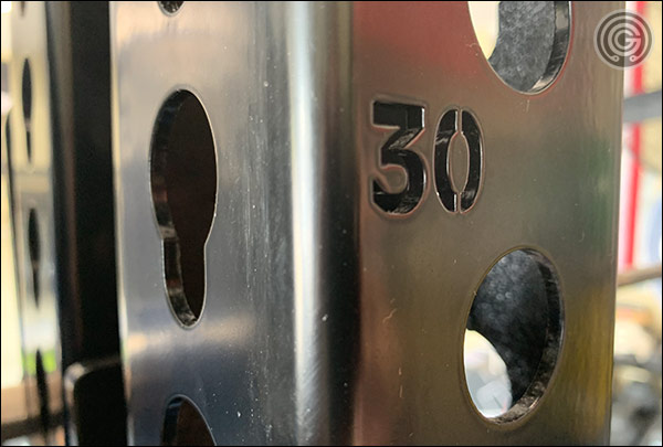 Monster Racks have laser-etched numbered holes running the length of the uprights