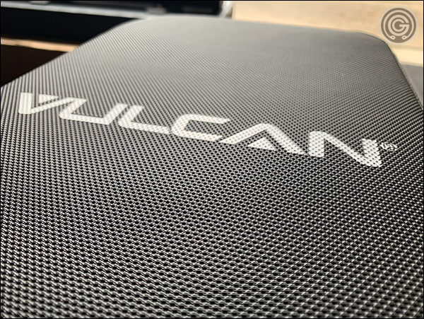A textured, grippy vinyl is used on both the seat and the back pad of the Vulcan Prime